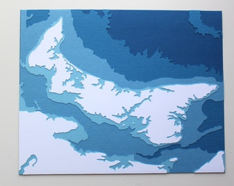 Prince Edward Island - original 8 x 10 papercut art in your choice of color