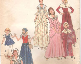 1970s Butterick 4205 Misses Pilgrim Gypsy Dutch Girl Colonial Costume Pattern Womens Vintage Sewing Pattern Size 10 Breast 28 UNCUT