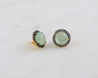 Chalcedony Stud, Aqua Chalcedony Post Earring, Oxidized Studs, Everyday Studs, White Topaz Studs, Gemstone Studs, Round Studs, Gift for Mom