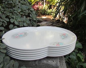 A Branchell melmac product K. La movne Platter Plate Mid century Modern Retro Design set of 6