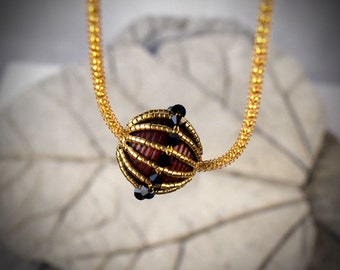 Orb necklace - thin chain choker - thin gold choker - sphere pendant - chain thin choker - gold thin choker - thin choker necklace