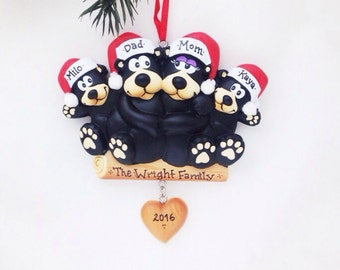 4 Black Bears Family Ornament / Personalized Christmas Ornament / Family of Four Bears / Christmas Ornament