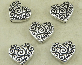 5 TierraCast Ornate Heart Scroll Beads > Spiral Swirl Love Valentine Bride - Silver Plated Lead Free Pewter - I ship Internationally 5672