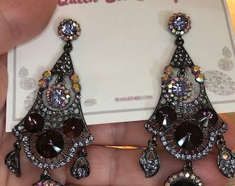 Dark Purple Austrian Crystal Antique Silver Pierced Earrings