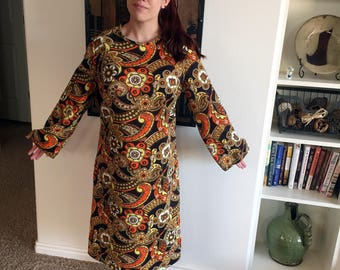 1970s Puritan Forever Young Dress XL Super Groovy!