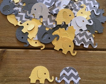 Elephant Confetti, Elephant die cuts, elephant baby shower, Yellow Elephant, Gray, Gender Neutral baby, baby shower confetti, boy, girl