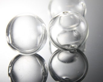 4pcs Hand Blown Hollow Glass Beads-Round Clear Two Hole 25mm (17H1)