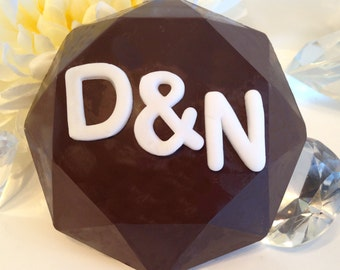 Personalized Dark Chocolate - Initial Chocolate Diamond - Birthday gift, Boyfriend gift, Bachelorette Present