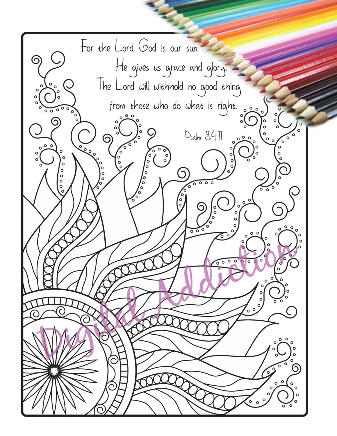 Scripture Coloring Page Printable Doodle Sun Zentangle