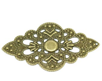 Set of 5 flower filigree connectors bronze 5.2 cm x 3 cm