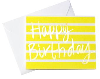 Stripe Happy Birthday/Yellow Stripe Happy Birthday Card/Gold Foil Happy Birthday Card/Birthday Card