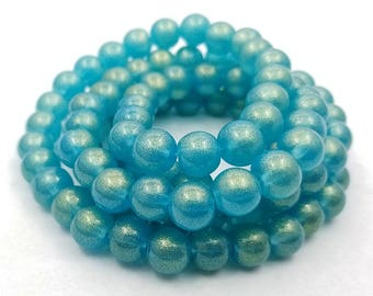 50 Teal With Gold Shimmer Glass Beads 8mm round (H2552)