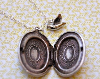 Silver Locket Ornate Vintage Inspired Necklace Small Pendant Mini Bird Charm Birds Feathers Delicate Jewelry Lockets Everyday Custom Gifts