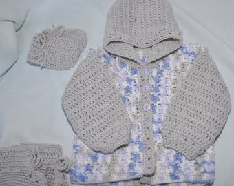 Sale Price reduced Baby Sweater, Hooded Baby Sweater with matching Mittens and Booties in size 6 to 12 months