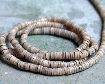 Oyster Shell Bead Natural Dark Grey 2-3mm Heishi 16-Inch Strand
