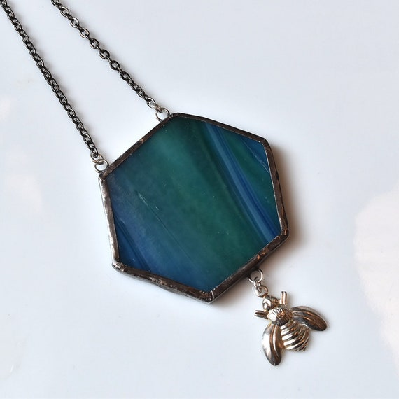 Broken China Jewelry Hexagon Necklace - Blue Green Beehive