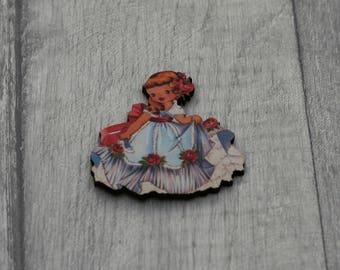 Retro Girl Brooch, Vintage girl Illustration, Wood Jewelry, Retro Pin, Little Girl Badge