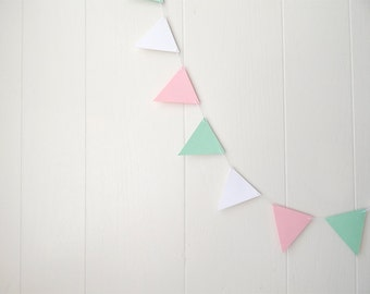 Flag Bunting Garland Nursery Decor Pink White Green Mint 5 ft Pastels