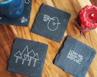 READY TO SHIP Stay Warm Winter Slate Coasters  in Silver Ink (Set of 4) Holidays, Christmas, Winter, snowman