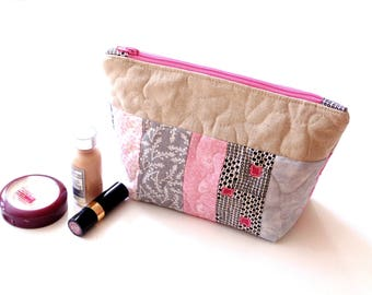Quilted cosmetic bag, zipper pouch, pink grey, cotton makeup bag, toiletry travel bag, gift for her, quilted clutch bag