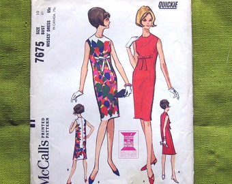1960s Vintage Sewing Pattern - Sixties Sleeveless Sheath Dress with Bow Detail - McCall's 7675 / Size 10 UNCUT