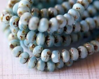 3x5mm Fire Polished Rondelle - Baby Blue - Premium Czech Beads - Bead Soup Beads - Czech Beads