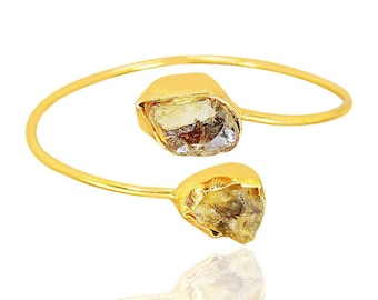 Natural Citrine Bangle - Rough Stone Bangle - Gold Plated Bangle - Bezel Set Bangle - Bypass Bangle - Stacking Bangle - Unique Gift For Her