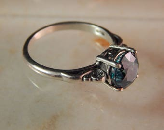 Sterling Silver Ring with 8mm Green Topaz- Ring Size 7.5