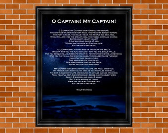 Walt Whitman Printable Poem, O Captain! My Captain! Abraham Lincoln, Civil War, Home Décor, Walt Whitman, Inspirational Poster, Literary Art