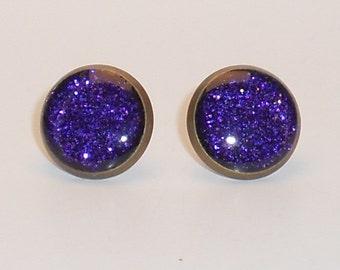 Dark Purple Glitter 10mm Post Earrings