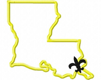 State of Louisiana (New Orleans) applique with fleur de lis embroidery design download - 5x7 hoop size