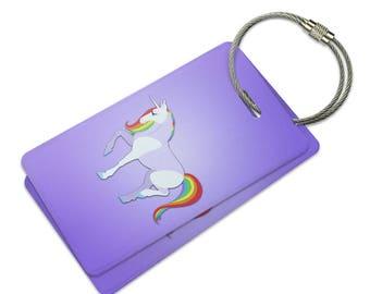 Prancing Unicorn Suitcase Bag Id Luggage Tag Set