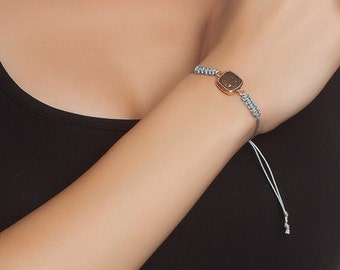 Golden Square Bracelet, pyrite stone, gold pyrite, adjustable bracelet, sterling silver, gold coat, fools gold bracelet, friendship bracelet