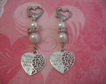 Mother and Daughter Forever Key Chain Purse Charms Accessories Gift