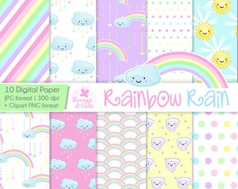 Rainbow Rain - Pastel color - Digital Paper