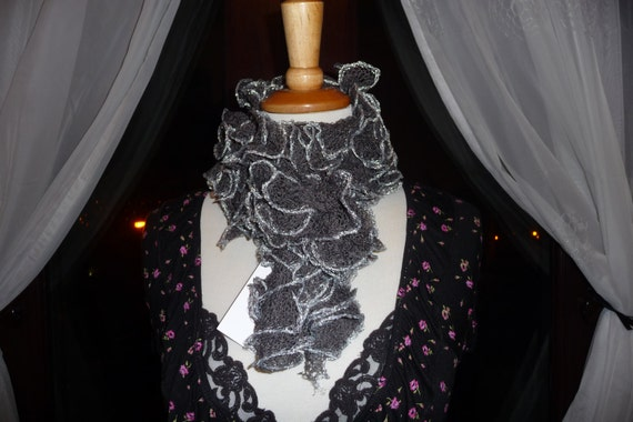 Handknitted Ruffles Scarf in Dark Grey with Silver Trim