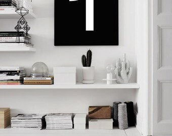 Typography print, Number One poster, Numbers Print, One print, Typographic, Wall Decor, Minimal, Minimalist poster, Black White, Wall Decor