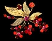 Vtg Pin Austria Floral Goldtn Red Pink Orange RS Accents Tiny Glass Balls Leaves
