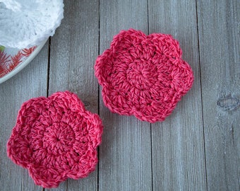 Cotton Face Scrubby - Flower Face Pads -  Organic Face Scrubbies - Reusable Face Wipes - Eco Friendly - Make-up Remover - Crochet Scrubbies