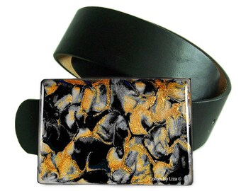 Belt Buckle with Black and Gold Hand Painted Enamel Ritulated Quartz Inspired Snap Belts  with Custom Colors Available