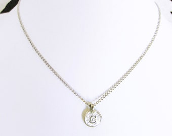 Unique necklaces for women personalized with C, sterling silver personalized letter c pendant necklace gift for women, C letter charm choker