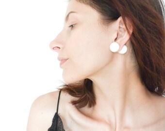 Double ball earrings, tribal earrings, ear jacket earring, huge earrings, double earrings, white earrings,  polymer clay earring, faux gauge