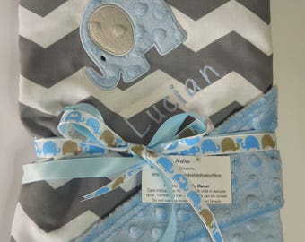 Personalized Stroller Blanket - Baby Elephant for boy LIGHT BLUE, Custom Stroller Blanket, Baby Blanket, Monogrammed, Baby shower