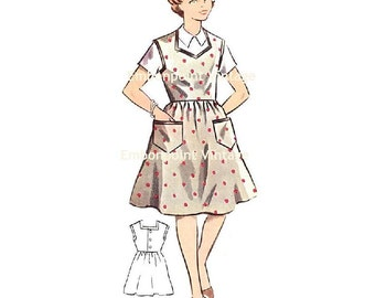 Plus Size (or any size) Vintage 1950s Pinafore Dress Pattern - PDF - Pattern No 134 Julia
