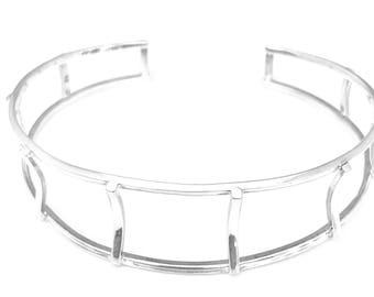 Sterling Silver Bangle/ Cage Bangle/handmade/highly polished