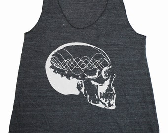 Women's Music Minded Tank Top Tone Wave Skull Sacred Geometry Frequency Pythagoras Shirt