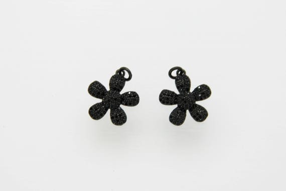 Black CZ Micro Pave 18mm Flower Pendant With CZ Bail
