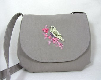 Embroidered bird bag, Shoulder bag, hand embroidered purse, silk ribbon embroidery, pink floral handbag, bird and flowers