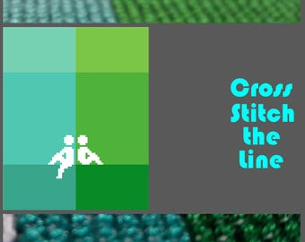 Minimalist cross stitch pattern of two seated figures. Modern embroidery chart. Contemporary design. 'Just chilling...'