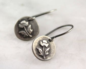 Little Rose Rustic Oxidized Silver Earrings